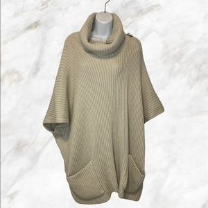 STEVE MADDEN Cream Knitted Cowl Neck Poncho